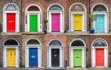 Colorful collection of doors in Dublin, Ireland - 199107643