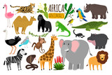African animals. Various wildlife animals of Africa, vector monkey or marmoset and leopard, parrot and rhinoceros - 199109639