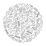 round design element with meat icons