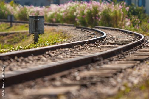 Foto Spatwand Spoorlijn ローカル鉄道と線路