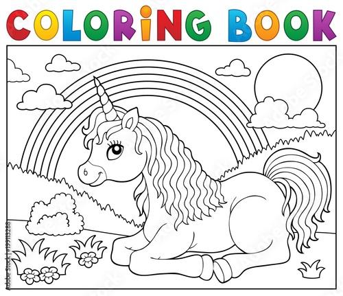 Poster Voor kinderen Coloring book lying unicorn theme 2