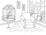 Living room graphic black white interior sketch illustration vector - 199113849