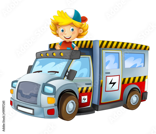 cartoon scene with child - boy in toy vehicle electricity car on white background - illustration for children  - 199117261