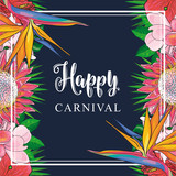 Tropical flowers border on carnival card with isolated sketch colorful exotic blooms of plumeria, magnolia, protea, hibiscus and bird of paradise with green palm leaves. Vector illustration. - 199117491