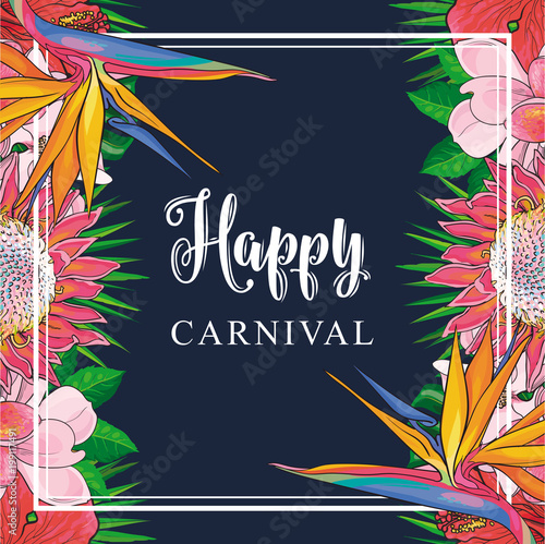 Tropical flowers border on carnival card with isolated sketch colorful exotic blooms of plumeria, magnolia, protea, hibiscus and bird of paradise with green palm leaves. Vector illustration.