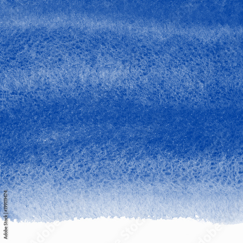 Navy blue watercolor abstract background with uneven edge. Marine, maritime watercolour gradient fill. Painted texture with watercolour stains. Hand drawn sea, ocean, water template.