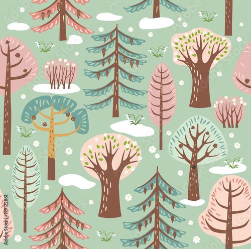 Materiał do szycia Las, drzewa. Bezszwowe tło. Wiosną. Grafika wektorowa. Wzór