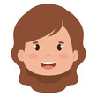 little girl head icon vector illustration design