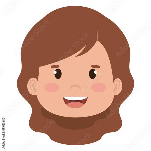 little girl head icon vector illustration design - 199123680