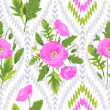 Beautiful pink flowers, poppies with green leaves on the graphic gray and white ikat wallpaper. Floral seamless pattern. Summer vector illustration. Endless texture for season spring design.