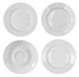 round plates or dishes top view isolated on white