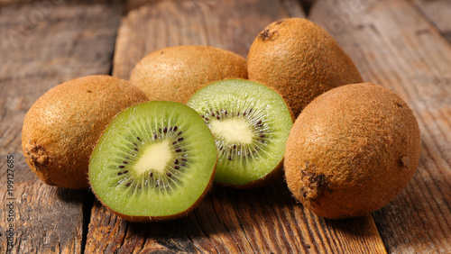 kiwi on wood background