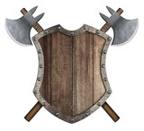 Wooden medieval heraldic shield with crossed battle axes 3d illustration