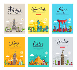 Set of thin lines different cities for travel destinations. Landmarks banner template of flyer, magazines, posters, book cover, banners. Layout workplace technology outline vector illustrations modern