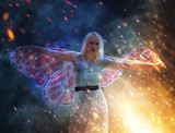 Magical portrait of a young woman with wings - 199138483