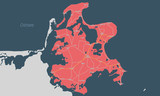 Karte der Insel Rügen mit Orten und Straßennetz - 199141480