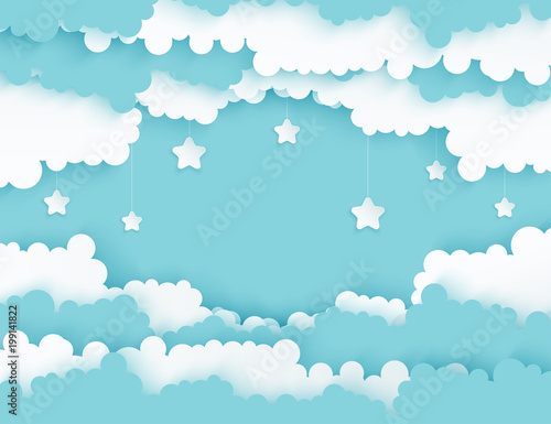 Fototapeta Modern paper art clouds with stars. Cute cartoon sky with fluffy clouds in pastel colors. Cloudy weather. Origami style