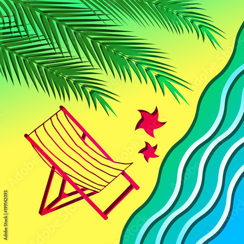 Beach chair and palm tree on the beach 2