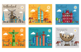 Set of different cities for travel destinations. landmarks banner template of flyer, magazines, posters, book cover, banners. Layout workplace technology flat illustrations modern pages - 199147055
