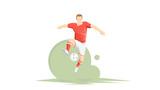 Creative abstract soccer player. Soccer Player Kicking Ball. Flat Vector illustration
