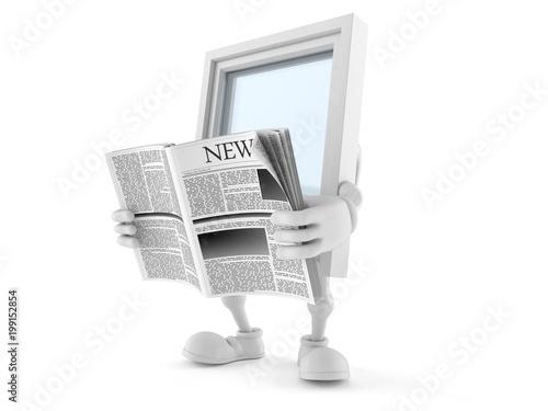 Window character reading newspaper - 199152854