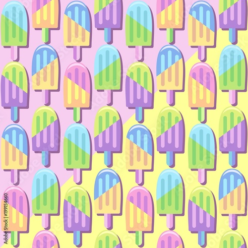 Foto op Plexiglas Draw Ice Lollipops Popsicles Summer Punchy Pastels Colors Pattern