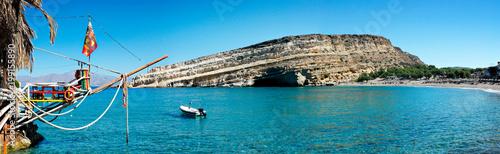 Poster Panoramafoto s Matala Beach panorama de la baie