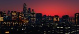 modern city at sunset, night cityscape, 3D rendering