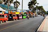 Fototapety Street trading, tuk-tuk and rent scooters on the srteet  in Phuket. Thailand.