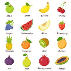 Fruit food icons set, isometric style