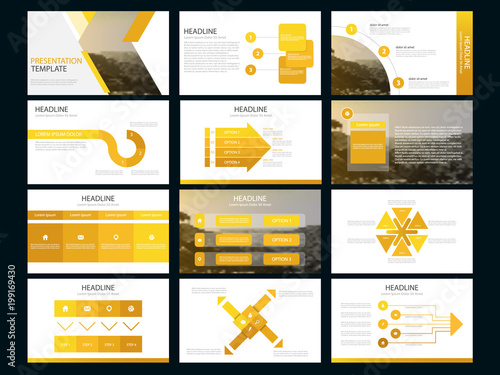 Yellow Abstract presentation templates, Infographic elements template flat design set for business proposal brochure flyer leaflet marketing advertising banner template