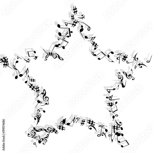 Znaki muzyczne. Nowoczesne tło z nutami. Element wektora muzycznego plakatu, baner, reklama, karty. Minimalistyczne Proste Tło.
