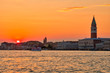 Venice at sunset Italian landscape. Venice postcard.