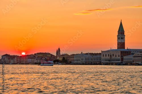 Fotobehang Venetie Venice at sunset Italian landscape. Venice postcard.