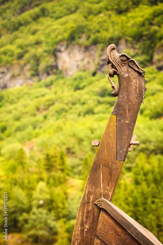 Foto op Plexiglas Schip Part of old wooden viking boat in norwegian nature