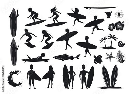 Fototapeta surfers silhouettes set. men and women surfing, riding waves, stand, walk, run, swim with surfboards, symbols design decoration, palm tree, leaf, turtle, shark, hand, hibiskus, wave, sun