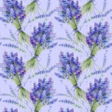 Watercolor hand drawn texture (pattern) with lavender bouquets on purple background