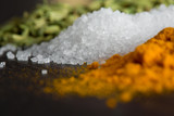 sea salt among spices on the stone surface are large,macro - 199182412