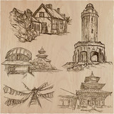 Architecture around the World - An hand drawn vector pack, collection. - 199183299