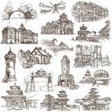 Architecture around the World - An hand drawn pack. Freehand collection on white. Isolated. - 199183443