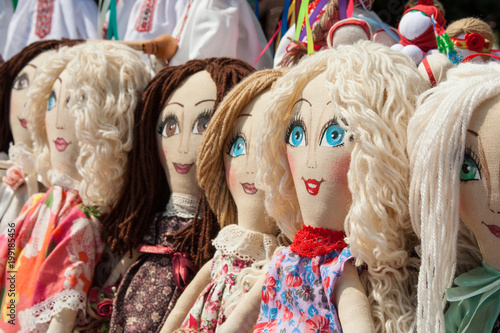 Ukrainian rag doll. Stuffed Toys. Handmade textile doll ancient culture folk crafts tradition of Ukraine.