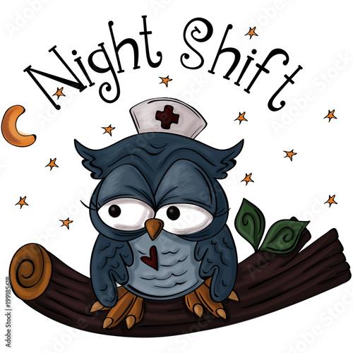 Night Shift Owl with Nurse Hat Sitting on Tree Branch