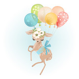 Cute baby deer with floral wreath and tied bow flying with colorful balloon, butterflies and flowers - 199194288