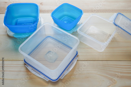 Empty Plastic Food Storage Containers. The Concept Of Long Term Storage Of  Products.