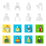 Military, fireman, artist, policeman.Profession set collection icons in outline,flet style vector symbol stock illustration web.