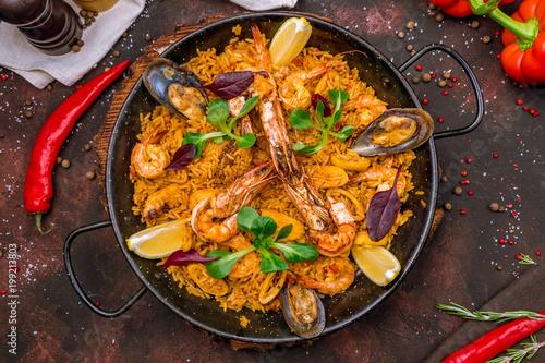 Fototapeta paella with seafood