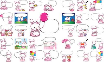 rabbit cartoon action set