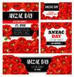 Anzac Day memorial banner with red poppy flower