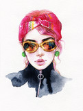 beautiful woman. fashion illustration. watercolor painting - 199231219