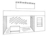 Exhibition stand graphic interior black white sketch illustration vector - 199232226